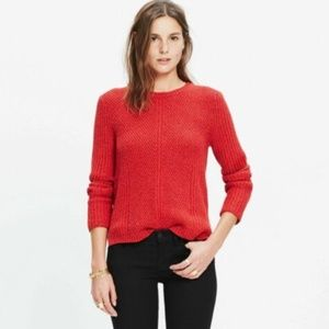 NWT Madewell Hexcomb Texture Sweater Red XS